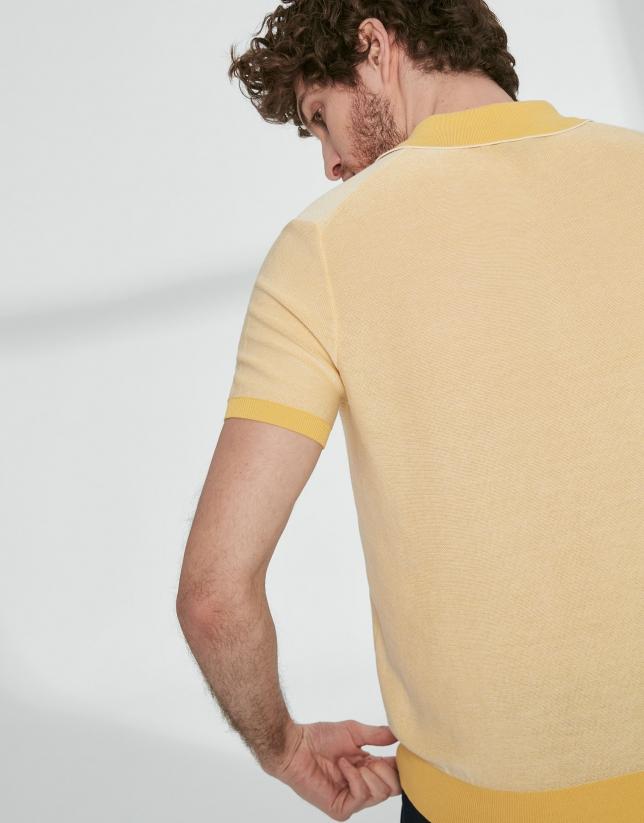 Yellow and white cotton polo