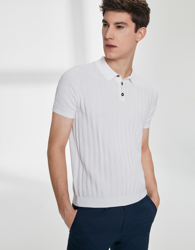 White structured high twist cotton polo