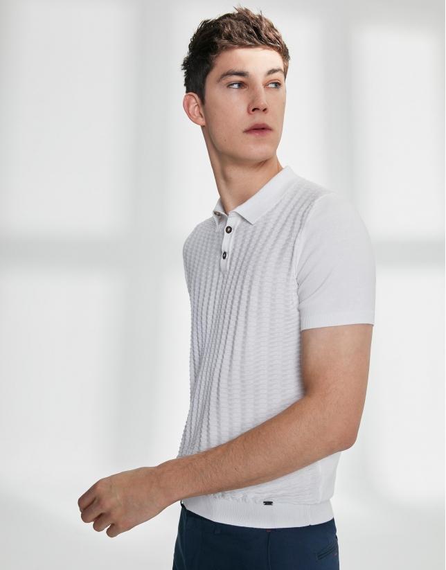 Polo algodón high twist blanco estructurado