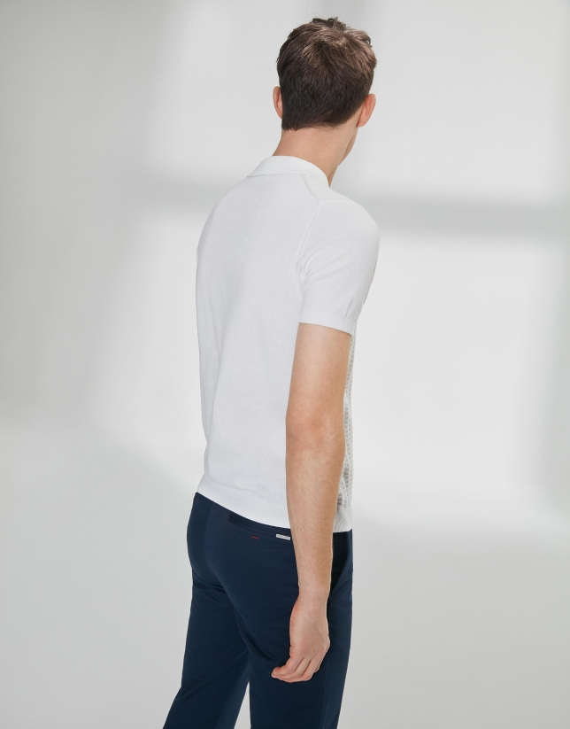 Polo en coton high twist structuré blanc