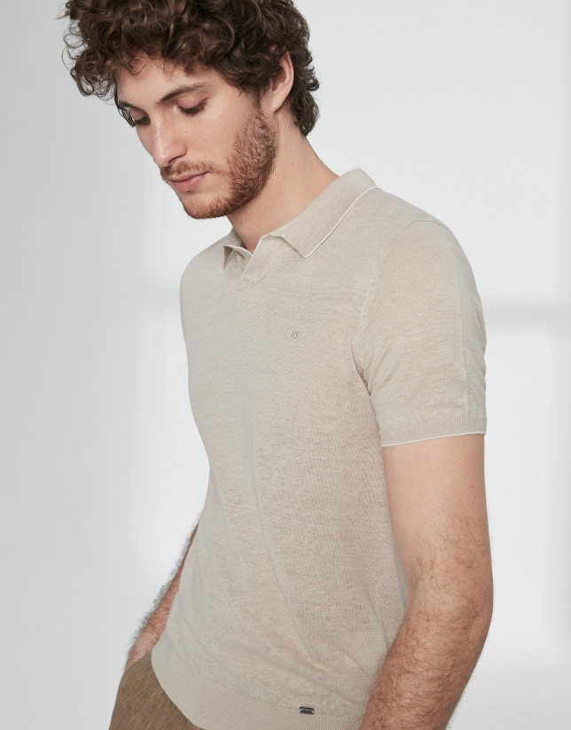 Sandy colored melange linen tricot polo