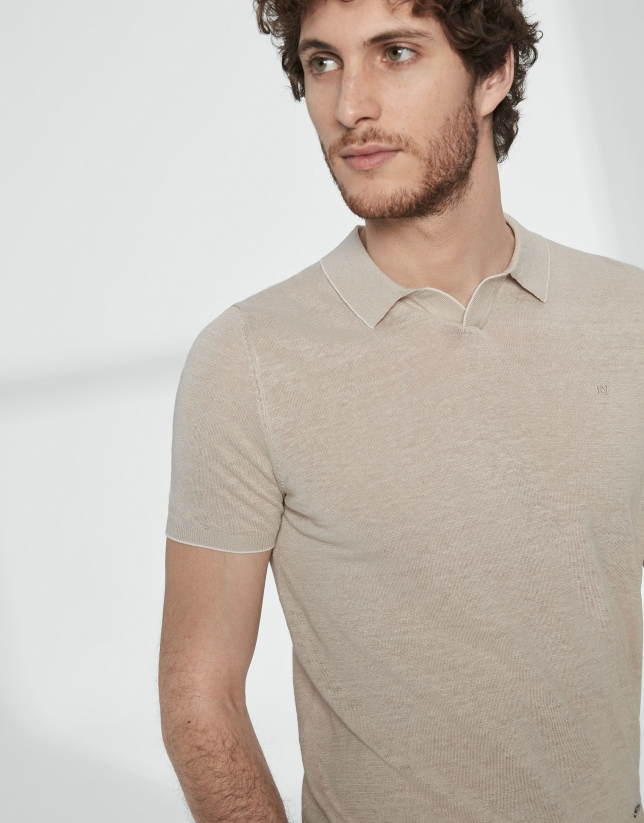 Sandy colored melange linen tricot polo