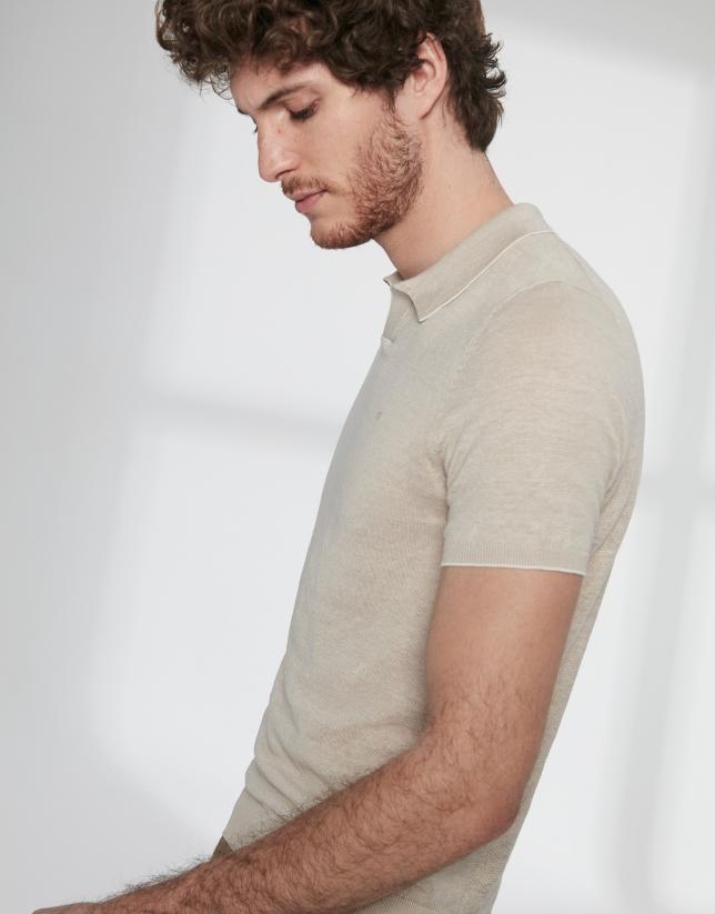 Polo tricot lino melange arena
