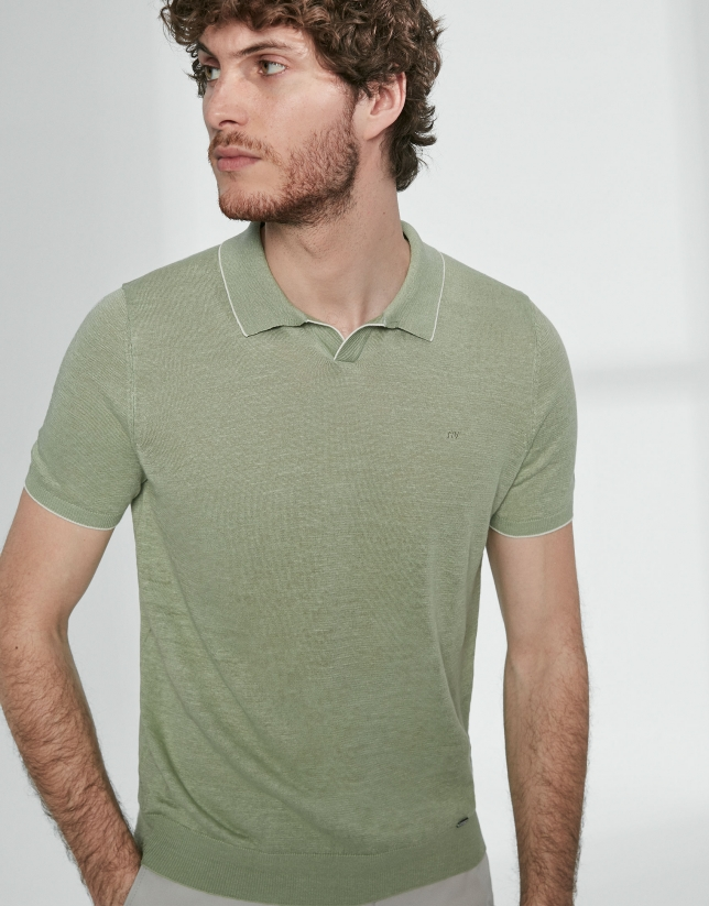 Light green melange linen tricot polo