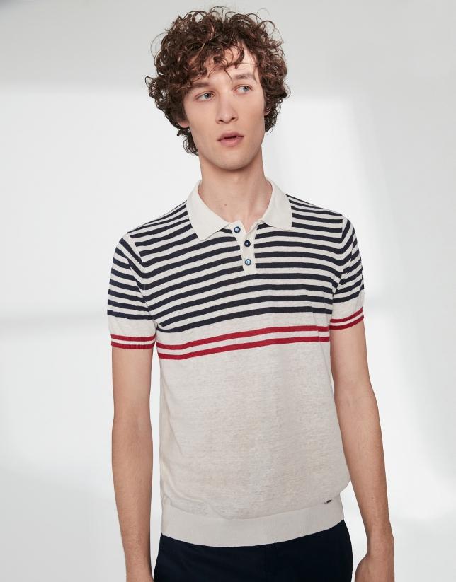 Polo tricot blanco y rayas marinero