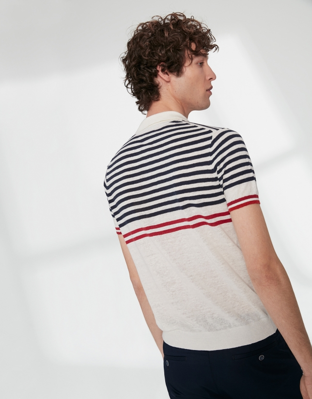 White and navy blue sailor striped tricot polo