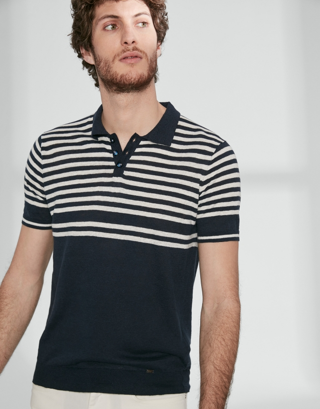 Navy blue and white sailor striped tricot polo