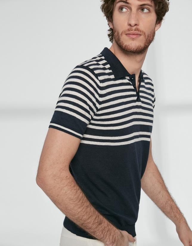 Polo tricot marino y rayas marinero