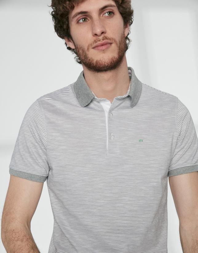 Gray and white striped cotton pique polo