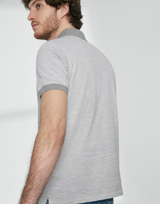 Polo piqué algodón rayas grises/blancas