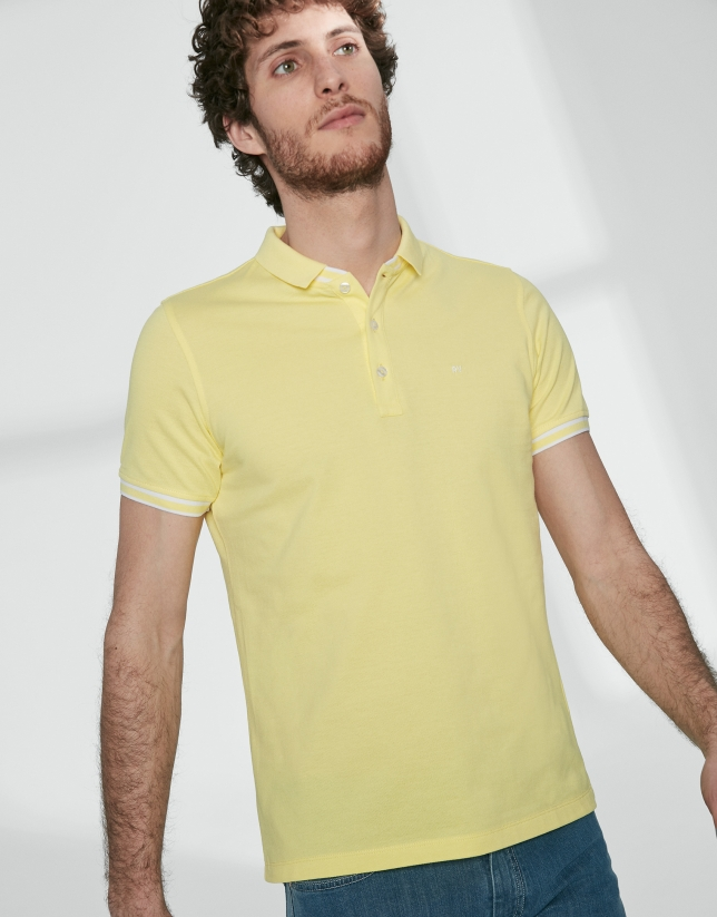 Yellow cotton pique polo