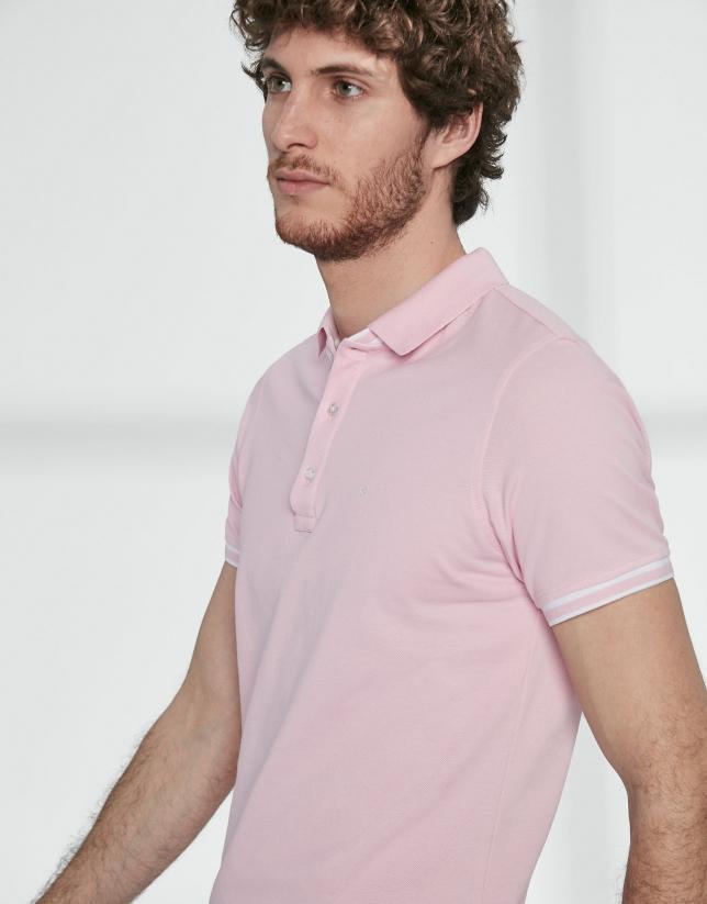 Pink cotton pique polo