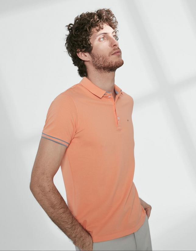 Orange cotton pique polo
