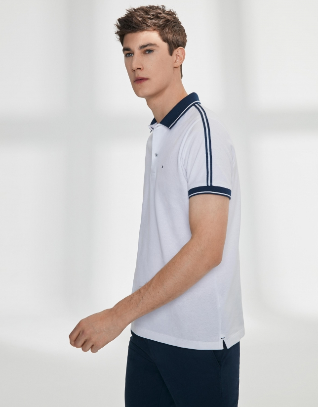 Navy blue and white striped cotton piqué polo