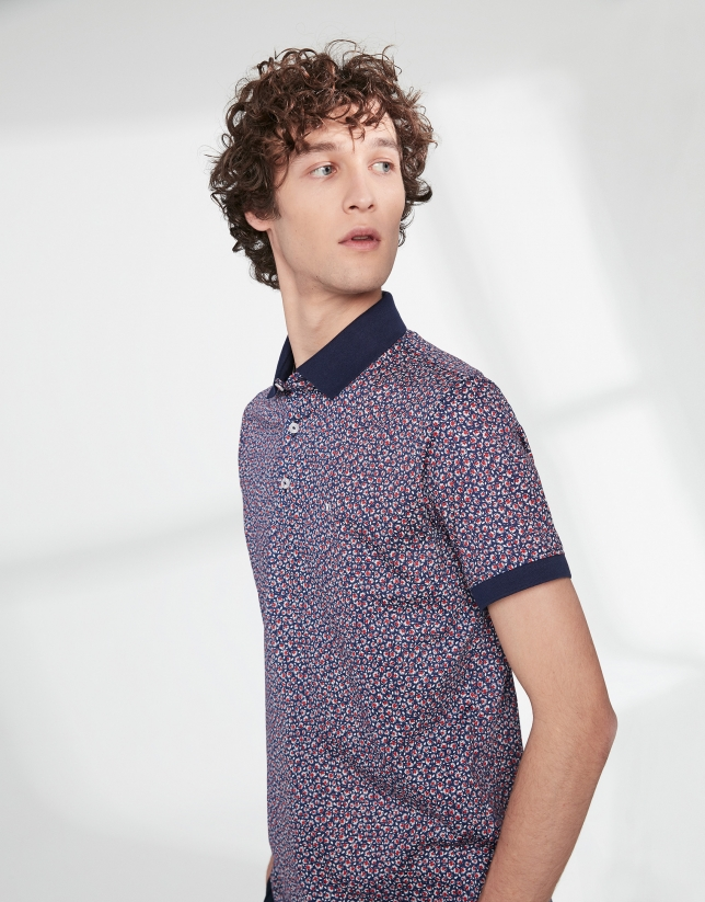 Blue and red floral mercerized cotton polo