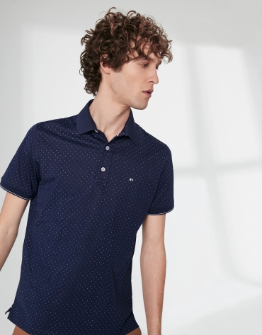 Navy blue print cotton polo