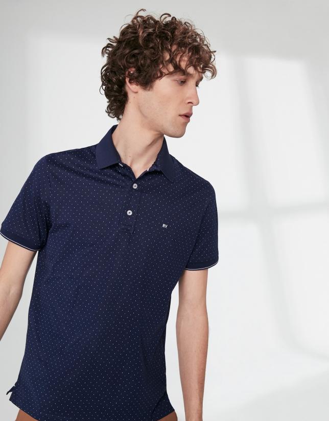 Navy blue print cotton polo