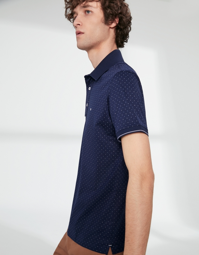 Polo en coton imprimé bleu marine