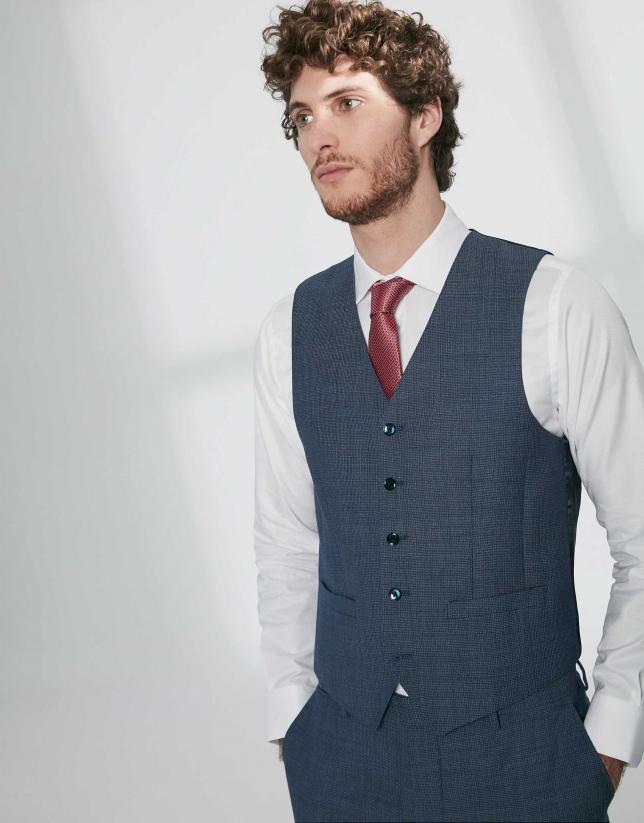 Gilet de costume en laine structurée bleu indigo