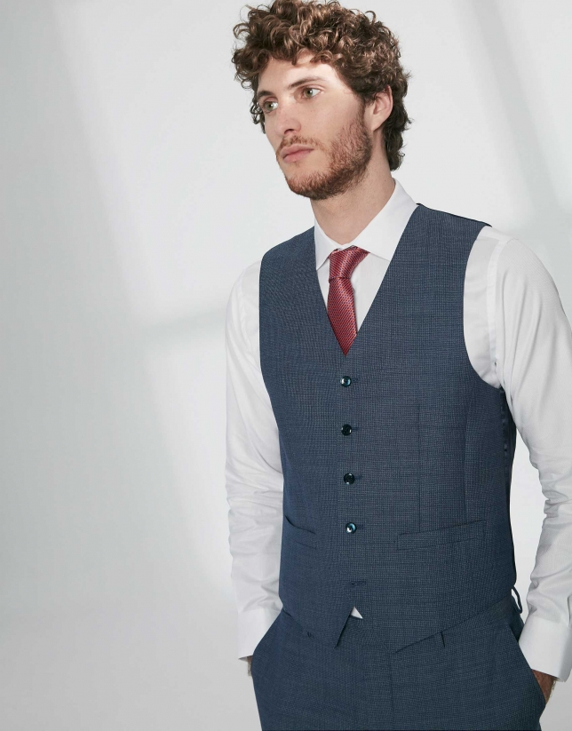 Indigo structured wool dress vest