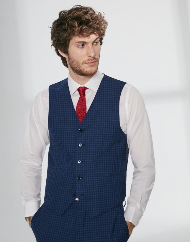 Gilet de costume en laine à carreaux dans les tons bleus
