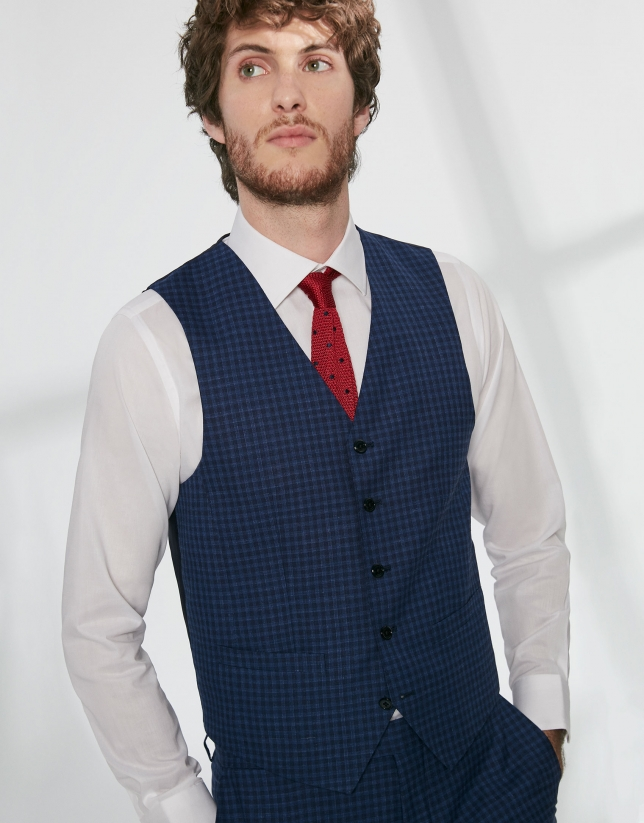 Blue checked wool dress vest