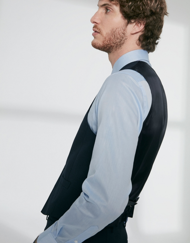 Navy blue wool fake plain dress vest