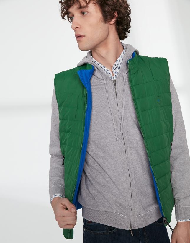 Chaleco reversible verde/azulón