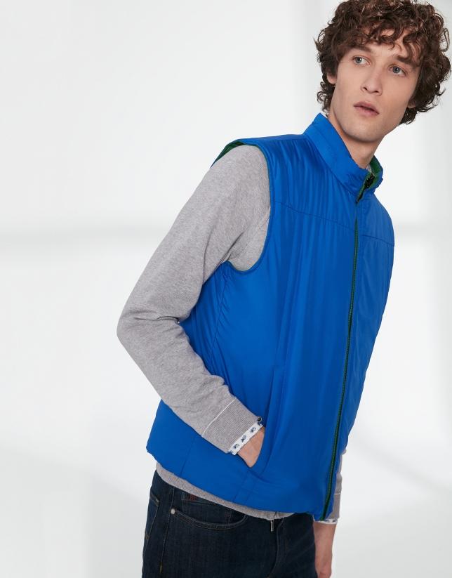 Chaleco reversible tejido técnico verde/azulón