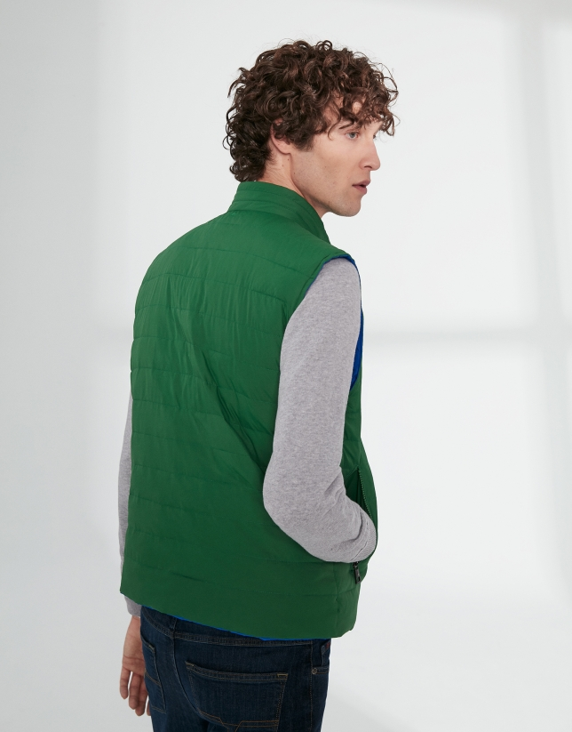 Blue and green tech fabric reversible vest