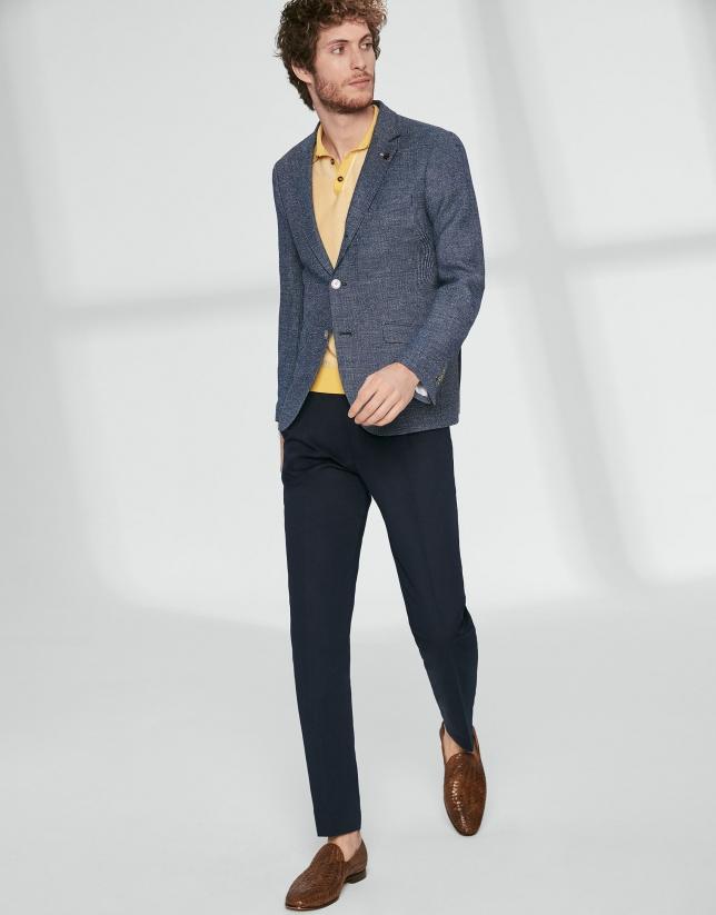 Blue textured mixed wool sport jacket