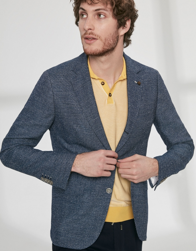 Blue textured mixed wool sport jacket