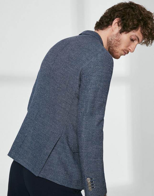 Veste en mélange de laine texturée bleue