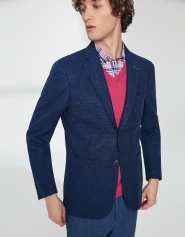 Two color blue elastic knit sport jacket