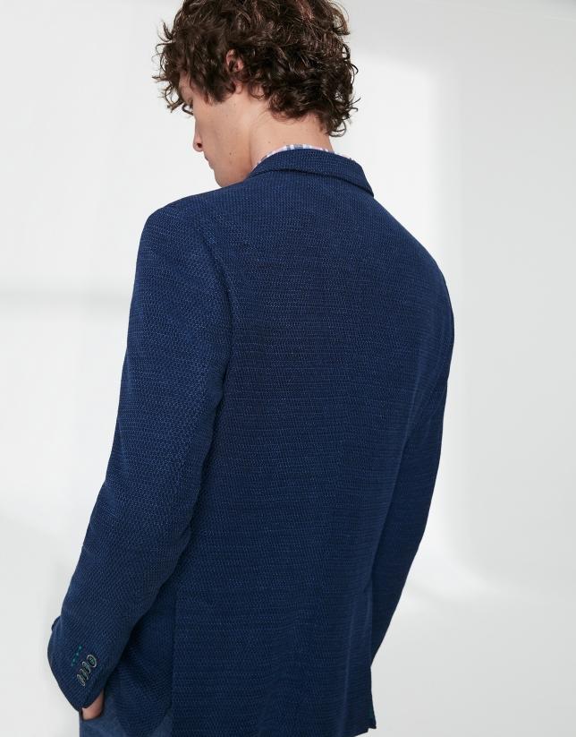 Veste en maille élastique bicolore dans les tons bleus