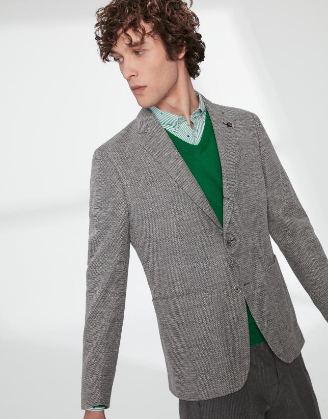 Veste en maille élastique bicolore en gris/écru