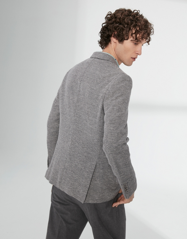Gray and beige elastic knit sport jacket