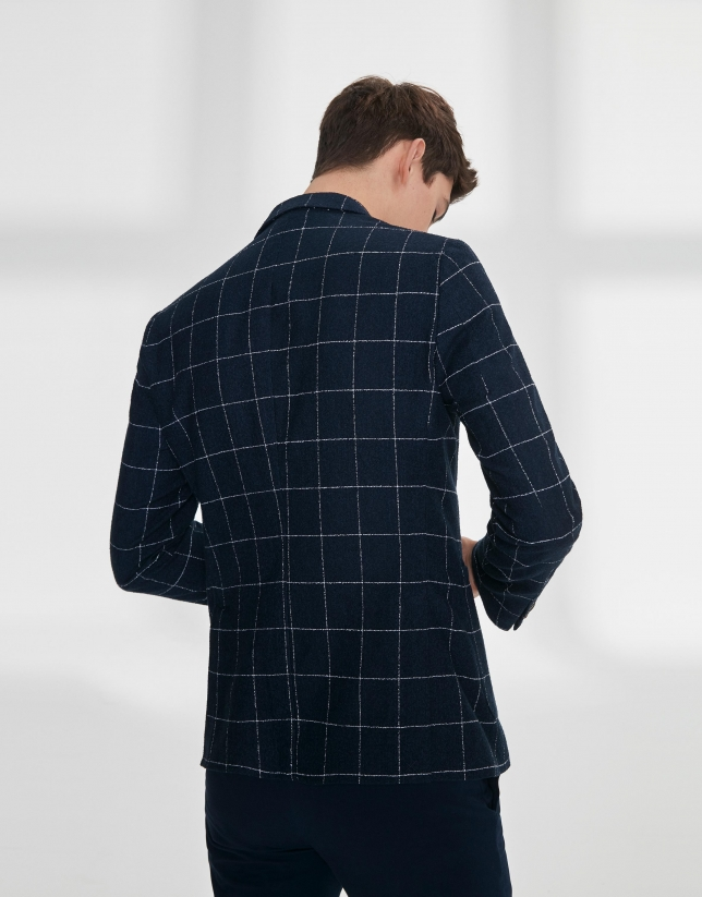 Navy blue checked mixed cotton jacket