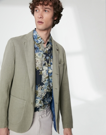 Light khaki mixed linen sport jacket