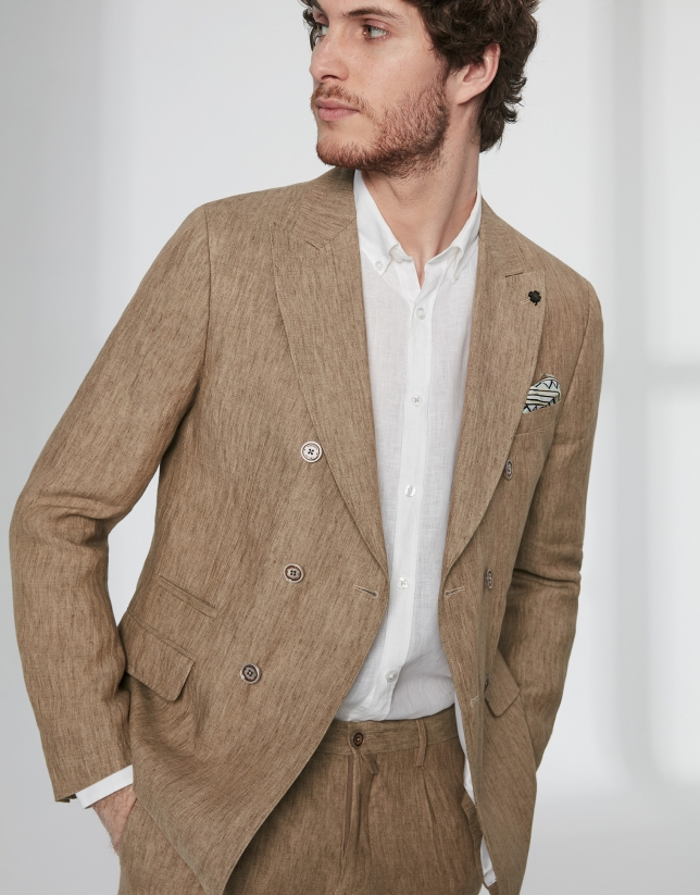 Brown linen, double-breasted sport jacket