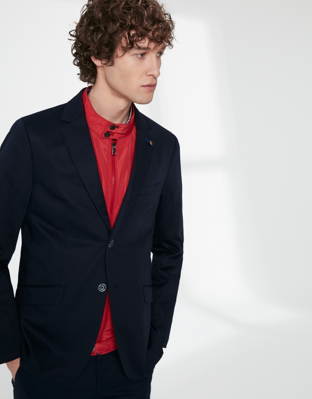 Navy blue cotton sport jacket