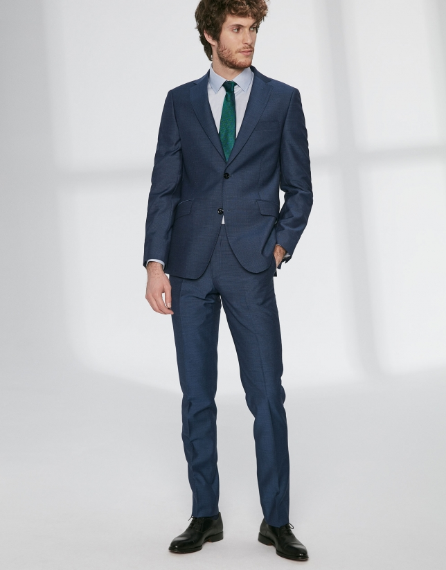 Blue structured virgin wool, regular fit suit
