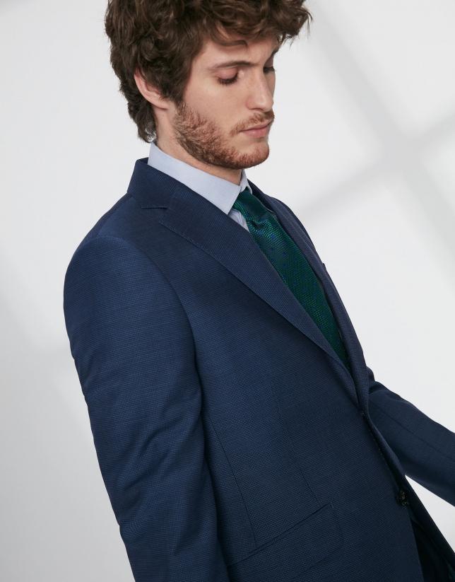 Traje regular fit lana virgen estructurada azul