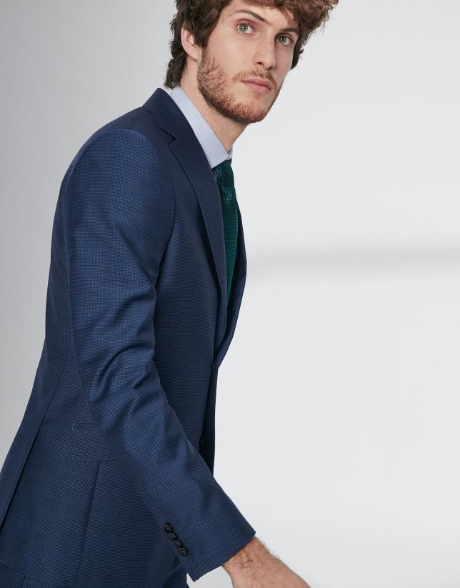Blue structured virgin wool, regular fit suit