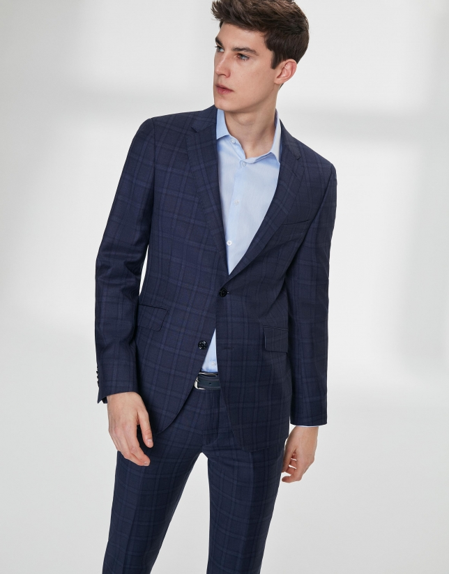 Navy blue checked wool, slim fit suit