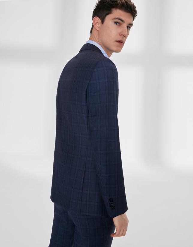 Costume coupe ajustée en laine à carreaux bleu marine
