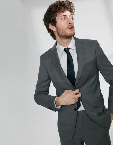 Gray structured virgin wool, regular fit suit