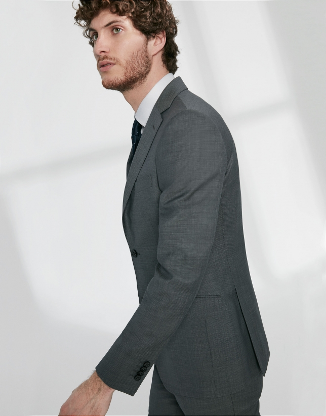 Gray structured virgin wool, regular fit suit