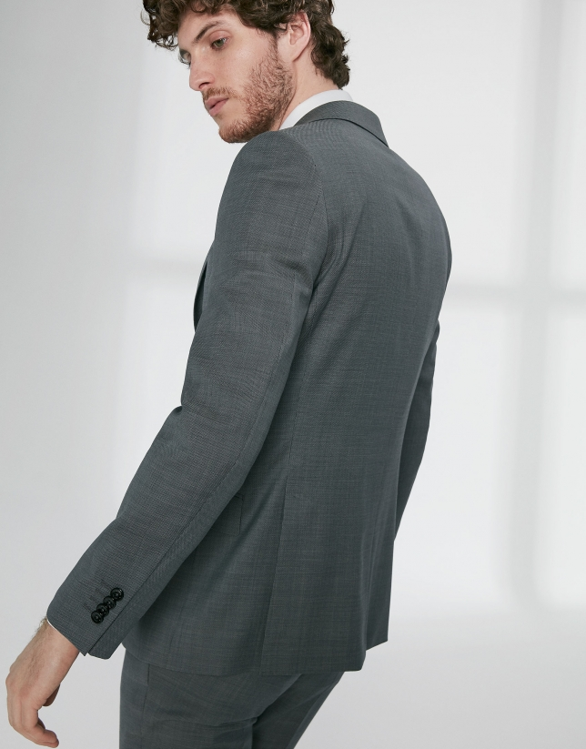 Traje regular fit lana virgen estructurado gris