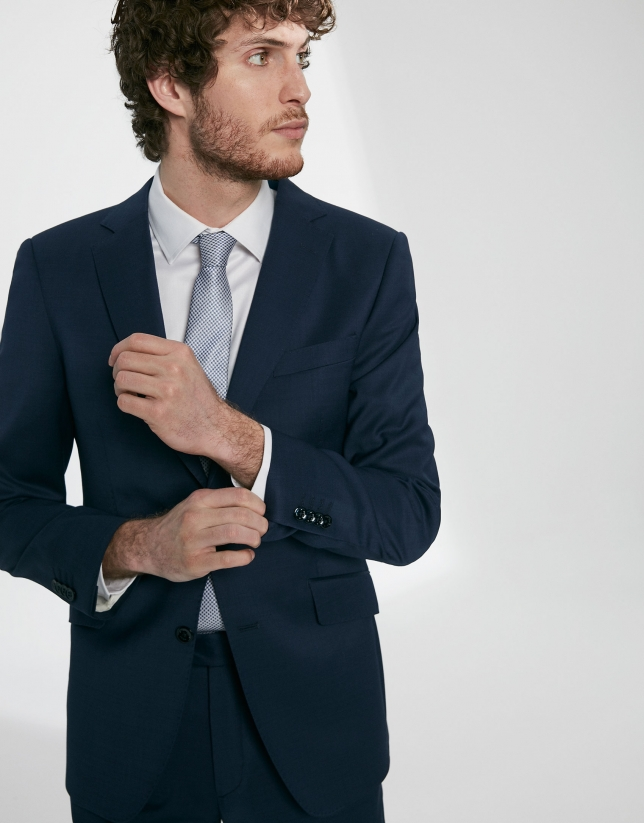 Navy blue, virgin wool, regular fit suit